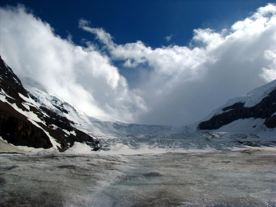 Athabasca glacier with clouds